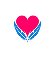 abstract love heart feather logo icon vector image vector image