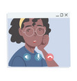 african american girl having video call people vector image