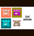 assembly of flat icons on theme evil animals vector image