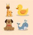 baby shower card with cute animals vector image vector image