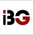 bg ibg big initials geometric letter company logo vector image vector image