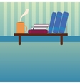 Bookshelf with books and cup of hot tea in style vector image vector image