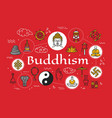 buddhism religion symbols and meditation culture vector image vector image