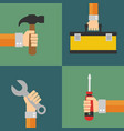 builders set flat design style vector image vector image
