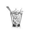 cartoon hand drawn cup tea with sugar cubes vector image