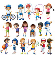 Children and sports vector image vector image