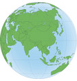 earth globe with focused on asia vector image vector image