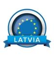 EU flag button with Latvia ribbon vector image vector image