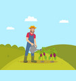 farming man with watering can vector image vector image