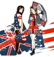 fashion trendy background with girls english flag vector image