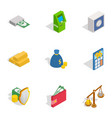 financial investment icons isometric 3d style vector image vector image