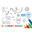 funny animals coloring book vector image