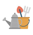 gardening tools watering can with instruments vector image