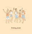 group people having different beverages vector image vector image