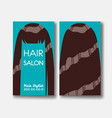 hair salon business card templates with brown hair vector image vector image