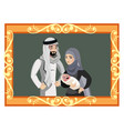 happy muslim family in golden frame vector image