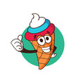 ice cream cone cartoon character with cream color vector image vector image