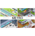 isometric city subway composition vector image vector image