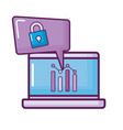 laptop with padlock and statistics vector image vector image
