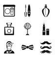 male makeup icons set simple style vector image vector image