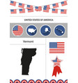 map of vermont set of flat design icons vector image vector image