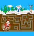 maze for children with santa vector image