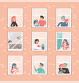 people at window set collection characters vector image vector image