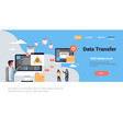 people working data transfer synchronization vector image