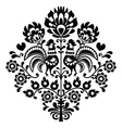 Polish folk art black pattern on white - Wycinanka vector image vector image
