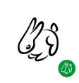 Rabbit cute small ouline style logo vector image vector image
