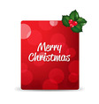 Red Blank Gift Tag And Holly Berry vector image