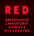 red neon alphabet font letters and numbers line vector image