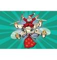 Retro Santa Claus flies on the drone vector image vector image
