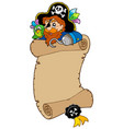 scroll with pirate and parrot vector image vector image