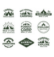 set of isolated mountain icons for journey club vector image