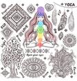set ornamental indian symbols vector image vector image