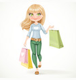 Shopaholic blond girl goes with paper bags vector image vector image