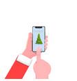 smartphone hand christmas tree modern flat vector image