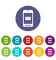 Smartphone with email set icons vector image