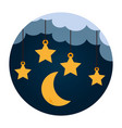 stars and moon hanging vector image vector image