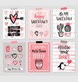 valentines day card set - hand drawn style vector image vector image