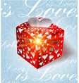valentines day gift on blue background vector image vector image