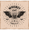 whiskey glass witch wings and rays emblem vector image vector image