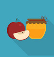 whole and slice red apples and honey jar icon in vector image