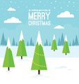 Winter Scene with Christmas Trees vector image vector image