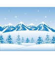 Winter wood and mountains vector image