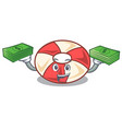 with money bag swim tube mascot cartoon vector image vector image