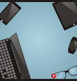 work place with multimedia devices laptop smart vector image
