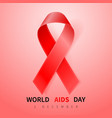 world aids day symbol 1 december realistic red vector image vector image