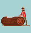 lumberjack chopping the tree with saw vector image
